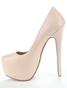Zapatos de Tacón Alto para Mujer con Plataforma 2020 Color Albaricoque Zapatos de Tacón Aguja de Talla Grande Zapatos de Vestido