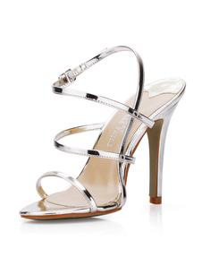 Sexy preto vidros sandálias de gladiador PU tiras alta calcanhar femininas