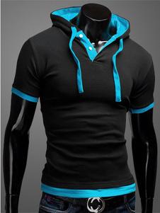 Camiseta con capucha de hombre 2020 negro bloqueo de color con cordones