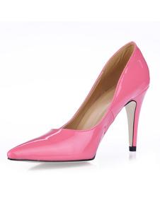 Rosa Zapatos de Tacón Alto con Punta Puntiguada 2020 de Charol Antideslizantes sin Tirantes Zapatos de Vestido para Mujer