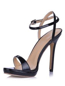 Open Toe sandálias de vestido de couro com fivela