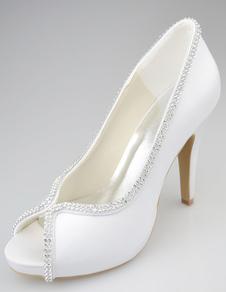 تألق خنجر كعب اللمحة تو الحرير والساتان أزياء المرأة أحذية الزفاف