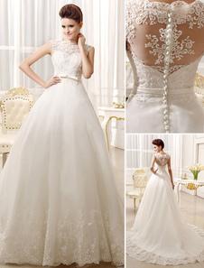 Vestido De Noiva Princesa 2020 Lace Applique Nupcial Vestido Bow Sash Peito Na Coração Ilusão Vestido De Casamento Com Cauda