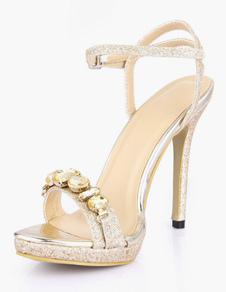 Sandálias de vestido sensual strass salto Stiletto PU couro