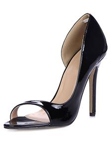 Preto salto agulha cortar vestido sandálias PU patente superior das senhoras