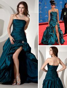 Vestido de Festival de Cannes de tafetán Azul tinta con escote palabra de honor sin mangas con pliegues