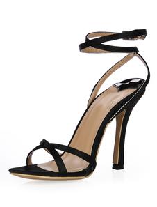 Sandalias cruzadas de seda sintética de estilo elegante