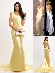 Знаменитости платья атласная V шеи спагетти Backless Оскар платье с поездом