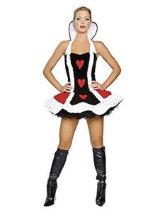 Traje curto Halloween rainha de copas Sexy  com padrão de corações  Halloween