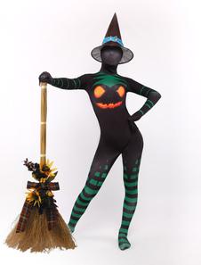Costume Carnevale Grandi personaggi nero stampa Lycra Spandex strega elegante Zentai tute