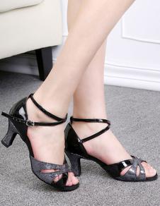 Черные танцевальные туфли Женщины с открытым носком Criss Cross Латинская обувь для танцев Бальные туфли