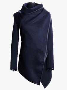 معطفا النساء معطف أسود التفاف معطف كم طويل انغلق دثار 2020