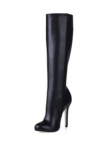Botas hasta la rodilla de PU de puntera cerrada Botas altas mujer negro  botas altas negras 12cm de tacón de stiletto Invierno Oficina/Trabajo