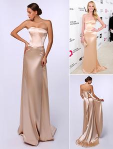 Champanhe elástico seda em cascata Ruffle vestido de noite inspirada por Anne V no Oscar