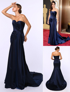 Abiti da celebrità Abito da sera scollo a cuore increspato di raso blu scuro ispirato a Sandra Bullock ad Oscar