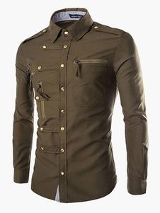 Modelagem de camisa gola Stand comprida mangas de algodão