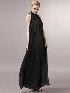 Vestido largo caqui  Moda Mujer Color liso sin mangas Vestidos de chifón con faja con escote alto Verano para fiesta