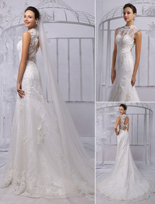 Lace Illusion High Neck Back Keyhole Sheath/Column Bridal Gown With Chapel Train(Veil isn't included)