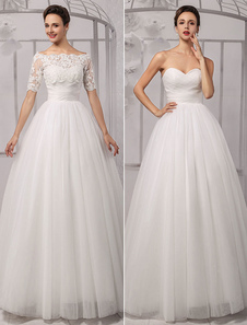 Tull Off-a-ombro casamento vestido de bola com um envoltório do laço Milanoo