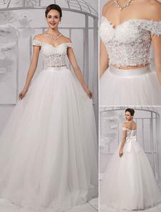 Duas peças Crop Top Off-a-ombro bola vestido de casamento vestido com saia de tule Milanoo
