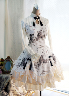 Chinese Qi Lolita Vestido Larga Mangas Dragon Estampado