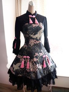 Vestido de Lolita de Qi negro uma peça  com mangas compridas Sakura Crane impressão
