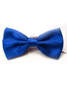 Seda elástica do homem chique azul Royal como laço de cetim