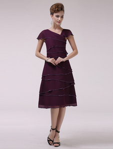 Uva gola v-line hierárquico vestido de Chiffon nupcial mãe de mangas curtas  Vestidos de Convidados para Casamento