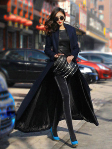 Lapel Maxi Coat With Long Sleeves