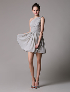 Pretty Light Slate Gray Short A-Line Cocktail Dress with One-Shoulder Ruched