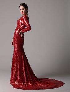 Maniche lunghe rosso paillettes abito con schiena aperta Bteau collo e coda a Strascico corto