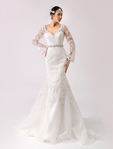 Vestido de casamento de renda 2020 vintage inspirado trompete com recorte costas Milanoo