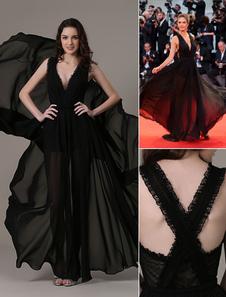Abiti da celebrità Una linea ritagliata Elegante abito da sera in chiffon trasparente