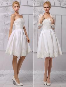 Vestito da sposa avorio in raso con pizzo senza spalline