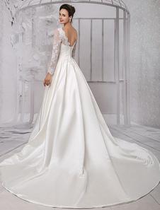 Decote V Com Cauda Com renda De renda Vestido de noiva  Milanoo