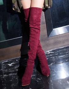 Бедро высокие сапоги Сексуальная направленная пальца ноги ручной работы Замша верхняя над сапогами колена
