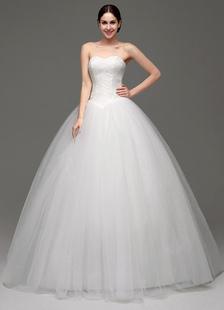 Sem alças Cauda até ao chão Com renda De tule Vestido de noiva