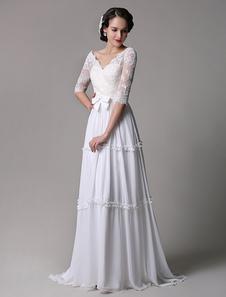 Бохо свадебное платье Винтаж-Line кружева шифон половина рукава v-образным вырезом спинки Бохо свадебное платье