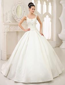 Vestido de noiva marfim princesa em cetim com transparência na gola e nas costas e cauda Milanoo