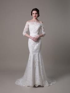 Свадебные платья Винтажное кружевное платье Русалка с скользящим шлейфом свадебное платье Milanoo