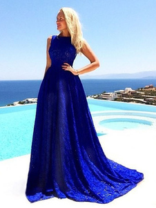 Vestido de praia sem mangas de renda azul vestido Maxi para mulheres