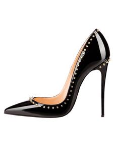 Черные высокие каблуки 2020 Направленная обувь для носков Женщины Заклепки скользят по насосам