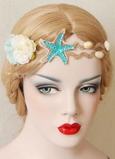 Laço do casamento Headpieces Silke flor Shell tema nupcial arnês