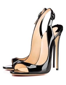 Sandali con tacco 2020  alto Nero Open Toe Slingbacks Sandali con tacco a spillo Scarpe da donna