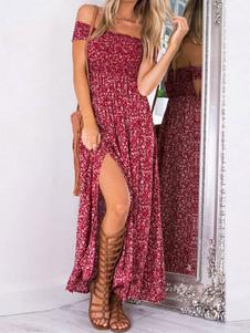 Boho Maxi Dress 2020 Off The Shoulder Split Red Impresso Vestido de Verão Para As Mulheres