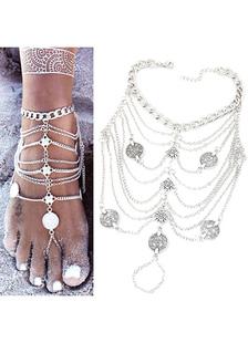 Ножные браслеты серебряные Fringe монета Beach