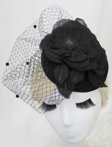 Chapéus de casamento preto flor tule noite chapéus
