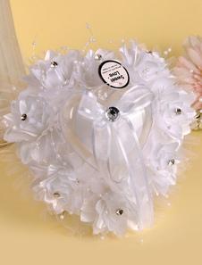Кружево свадьба подушку горный хрусталь атласный бант свадебной церемонии
