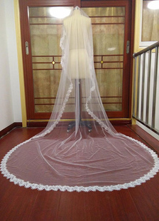Véu de Casamento Catedral  Cachoeira camadas um tule borda Applique do laço nupcial (300*140cm)