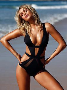 Traje De Baño De Una Pieza Traje De Baño Sexy Negro Recortado De Monokini Para Mujeres
